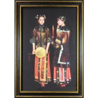 Oil on Canvas Reproduction of Chen Yifei Painting Titled Waiting for the Rising Moon in the Western Chamber For Sale
