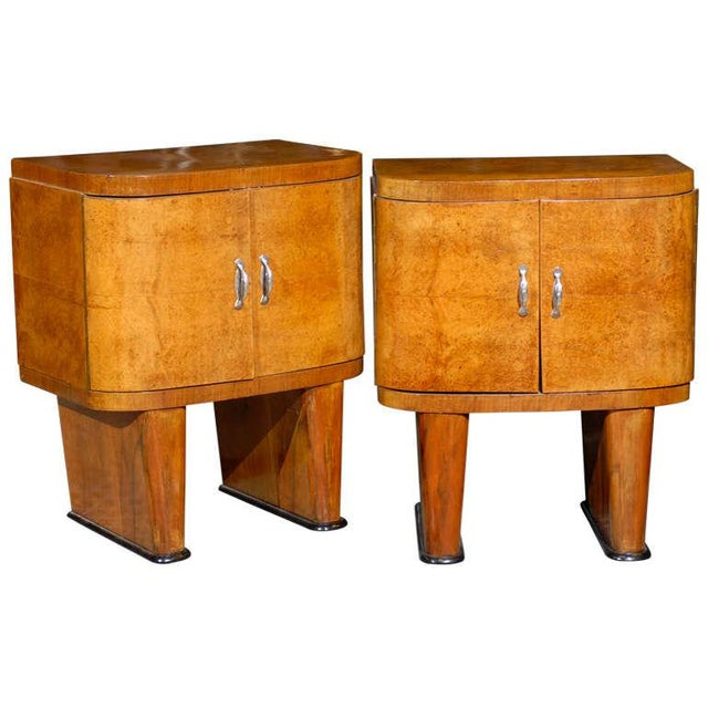 Exquisite Restored Pair Of Art Deco Small Cabinets In Walnut For Sale - Image 10 of 10