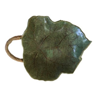 Abstract Green Studio Pottery Leaf-Shaped Decorative Bowl