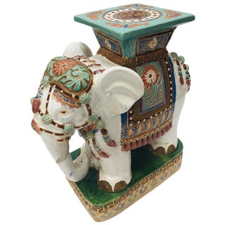 Chinese Hollywood Regency Ceramic Elephant Garden Stool For Sale