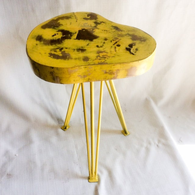 Yellow Wood End Table - Image 2 of 6
