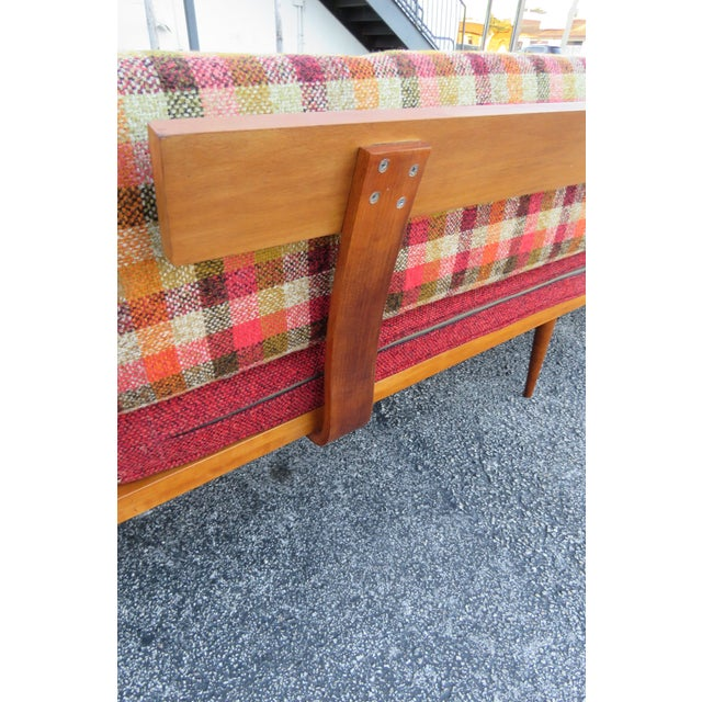 Mid Century Modern Adrian Pearsall Sofa XL Travertine Marble End Tables For Sale - Image 12 of 13
