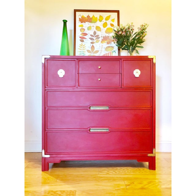 Now available is this solid wood mid-century dresser or chest of drawers by Drexel Furniture for the Compass line. This...