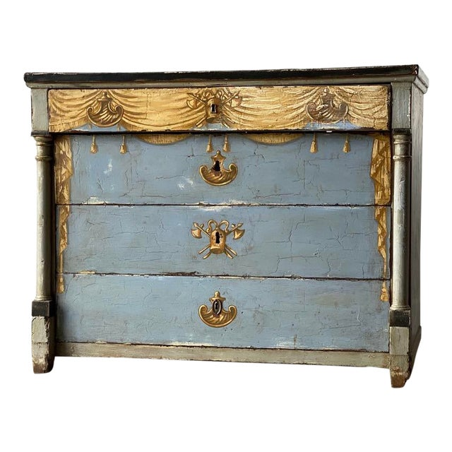 19th C. Swedish Painted Chest For Sale