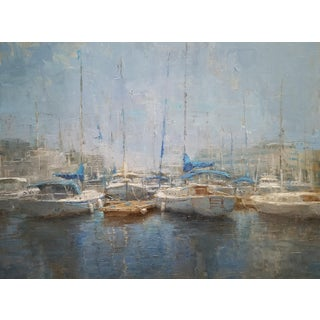 "Beckham Oil Painting ""City Marina"", Contemporary Blue Harbor With Boats For Sale"
