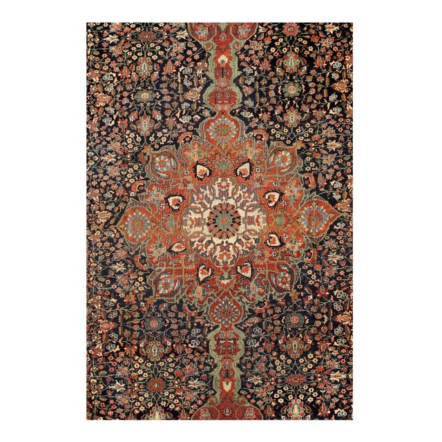 Persian Late 19th Century Antique Persian Sarouk Farahan Rug - 12′ × 18′8″ For Sale - Image 3 of 4