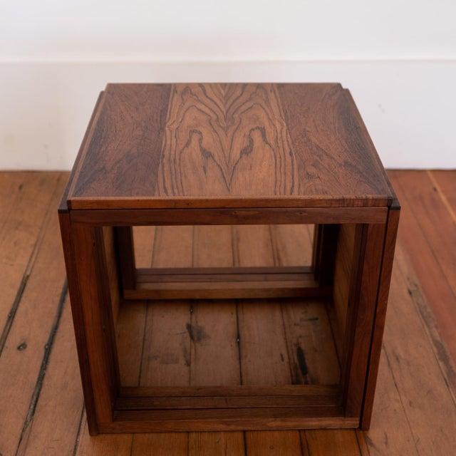 Kai Kristiansen Rosewood Kai Kristiansen Nesting Cube Tables For Sale - Image 4 of 12