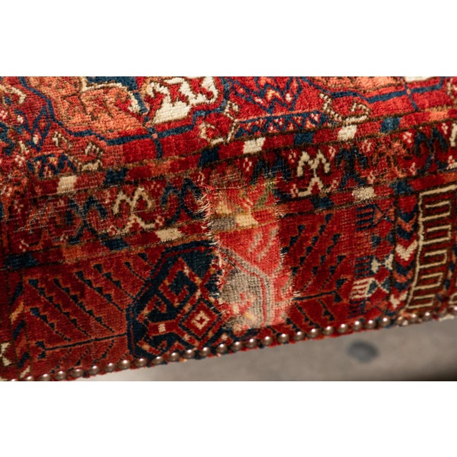 Red Large Scale Ottoman Upholstered With a Vintage Rug Textile For Sale - Image 8 of 13