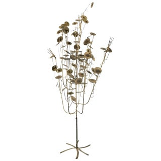 Brutalist Metal Tree Sculpture in the Style of C. Jere For Sale