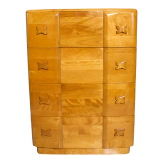 Stylish Blonde Art Deco Heywood Wakefield Highboy Rio Dressers in Maple 1940s For Sale