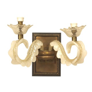 1940s Italian Bronze and Murano Glass Wall Sconce For Sale