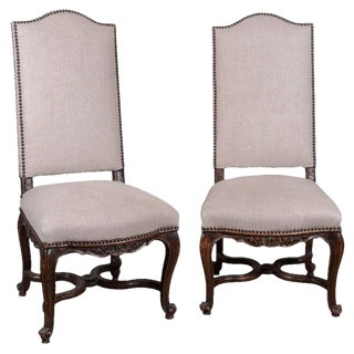 Pair of 19th Century Régence Style Side Chairs in Oak For Sale