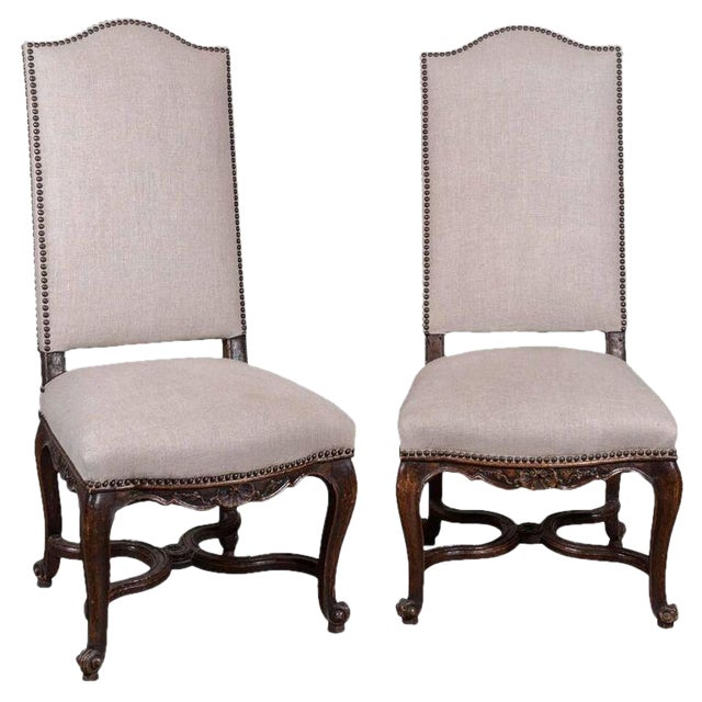 Pair of 19th Century Régence Style Side Chairs in Oak - Image 1 of 10
