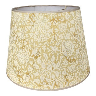 Brunschwig &Fils Yellow Flora & Fauna Print Fabric Lampshade For Sale