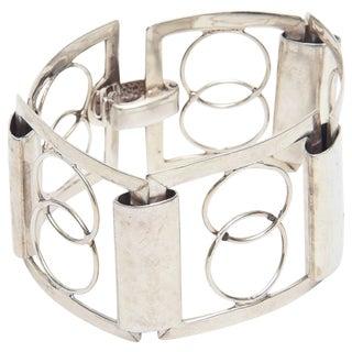 Italian Sterling Silver Modernist Geometric Open Link Cuff Bracelet For Sale