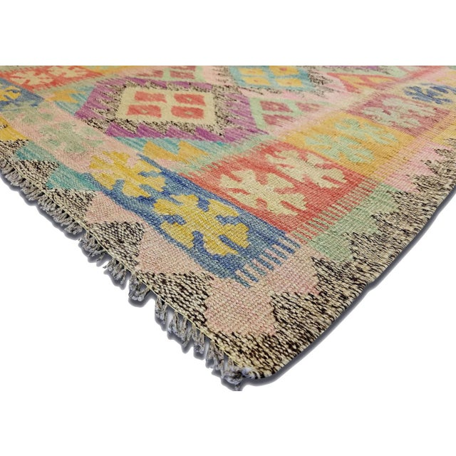 Contemporary Afghan Maimana Kilim. Hand woven with wool on wool foundation by the Maimana tribes of Northern Afghanistan....