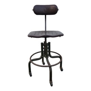 Industrial Leather Wrapped Drafting Stool For Sale