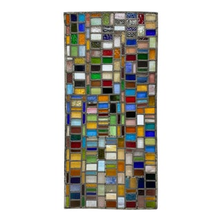 Large Multi-Colored Stained Glass Mosaic Panel For Sale
