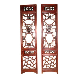 Mid 19th Century Antique Chinese Screen Panels - a Pair For Sale