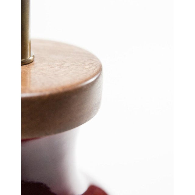 Asian Lawrence & Scott Gabrielle Baluster Porcelain Lamp in Pinot Red For Sale - Image 3 of 5