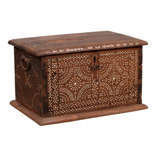 Midcentury Javanese Vintage Wooden Trunk with Mother of Pearl Geometric Inlay For Sale