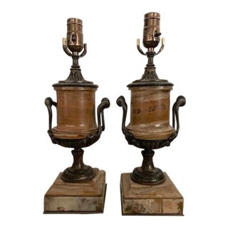 1900's Pair of Italian Marble and Bronze Lamps For Sale