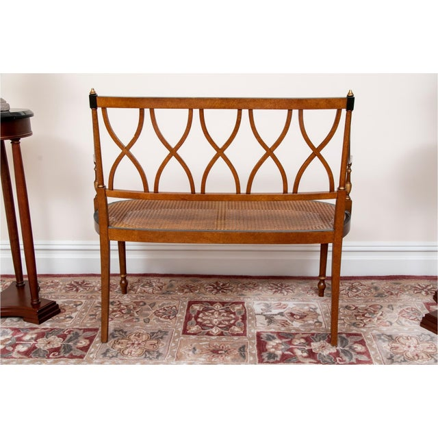 Traditional Early 20th Century Satinwood Hand-Painted Cane Settee For Sale - Image 3 of 12