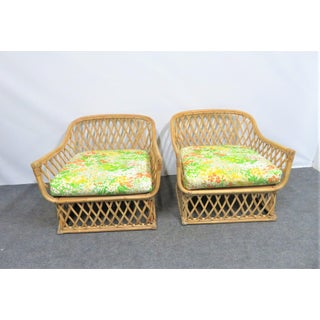 Mid Century Rattan Club Chairs & Ottoman Preview