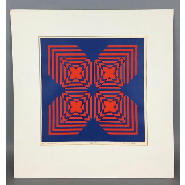 """1971 Vintage """"New Perspective"""" Geometric Op Art Serigraph Collage by Anne Youkeles For Sale - Image 13 of 13"""