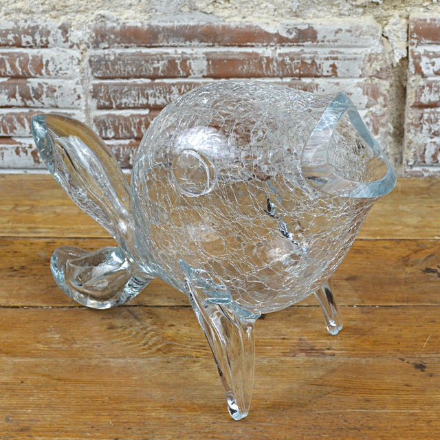 Art Glass Vintage Blenko Clear Crackle Glass Fish For Sale - Image 7 of 8