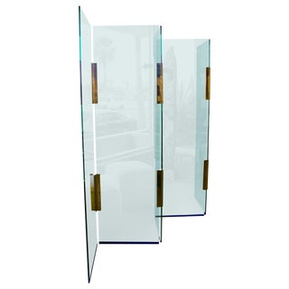 Pace Five-Panel Glass and Brass Hinge Room Divider or Screen For Sale