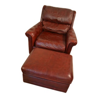 1990s Luxury Leather Chair & Ottoman For Sale