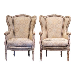 Pair of 19th Century Louis XVI Carved and Painted Ear Shape Fauteuils For Sale