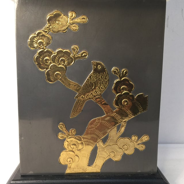 Asian Asian Motif Brass & Metal Table Lamp For Sale - Image 3 of 7