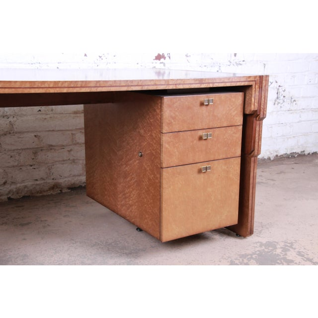 Pierre Paulin for Baker Furniture Bird's-Eye Maple and Walnut Inlay Art Deco Executive Desk For Sale - Image 9 of 13