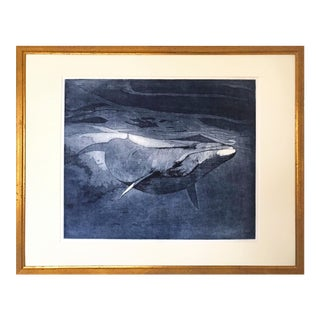 Impressive Vintage Realist Aquatint Etching of a Humpback Whale For Sale