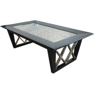 1950s Mid-Century Modern Black Satin X Frame Cocktail Table For Sale
