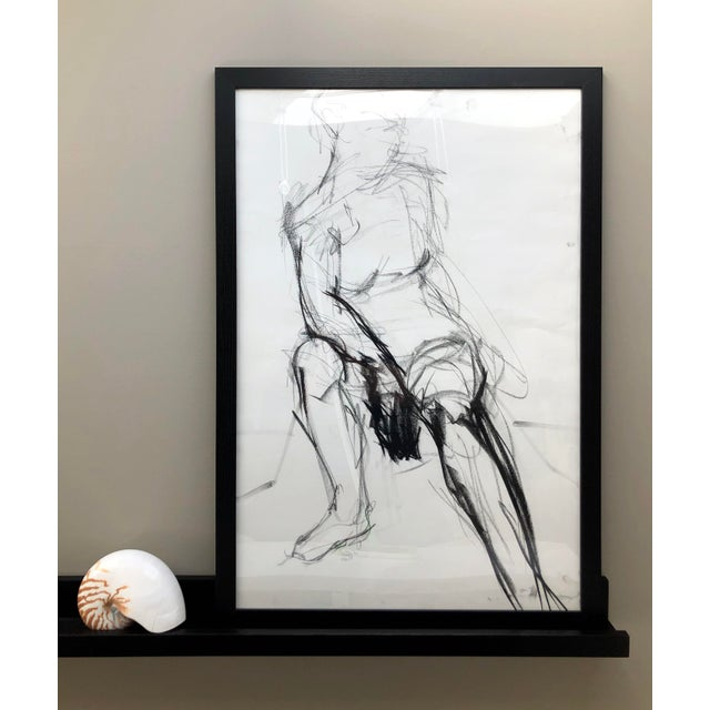 This is an original figure drawing, drawn from a live model in charcoal by Artist David Orrin Smith, 2019. A seated figure...