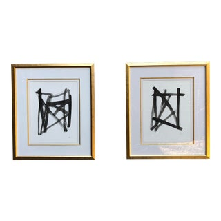 Original Pair of Black Ink Abstract Artwork in Gold Leaf Frame For Sale