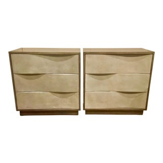 Wave Shagreen Currey & Co. Chests - A Pair
