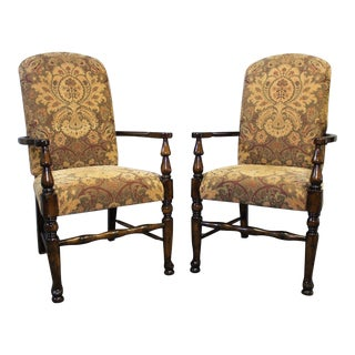 Vintage Chenille Upholstered Arm Dining Side Chairs - a Pair For Sale