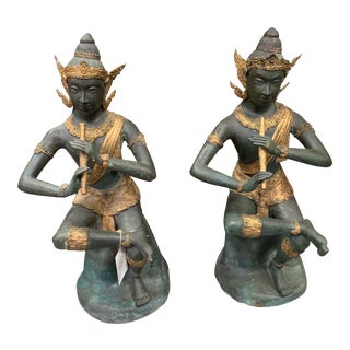 Antique Mid 1800s Bronze Thai Statues - a Pair For Sale