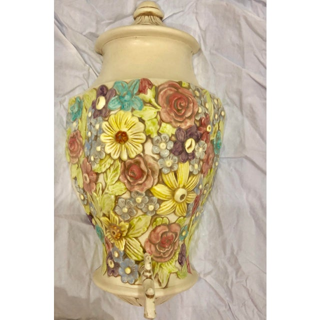French Vintage Palm Beach Regency Lilly Pulitzer Style Floral Ceramic Decorative Wall Pocket and Fountain For Sale - Image 3 of 5
