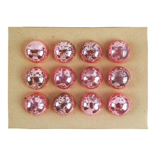 Vintage Hot Pink Shiny Brite Christmas Ornaments - Set of 12 For Sale