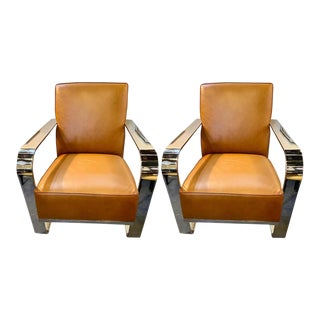 Ralph Lauren Bohemian Chairs, Chrome and Leather Rockers - a Pair For Sale