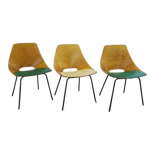 "Set of Three Pierre Guariche ""Tonneau"" Bentwood Chairs for Steiner Edition, 1954 For Sale"