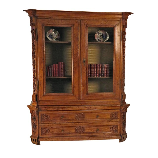 Early 19th Century Elm Richly Carved Baltic Cabinet For Sale