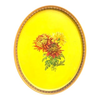 Mid-Century Yellow Painted Large Oval Floral Tole Tray For Sale