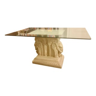 Vintage Asian Antique Glass Top Elephant Dining Table For Sale