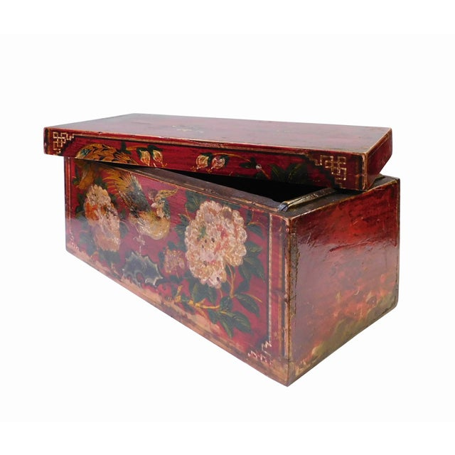 Vintage Red Flower Rectangular Wooden Box - Image 4 of 6